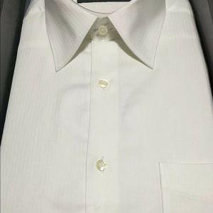 Perry Ellis Men White Long Sleeve Dress Shirt, L
